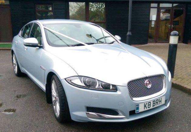 Silver Jaguar Wedding Car With White Ribbon Wedding Car Car Commercial Vehicle