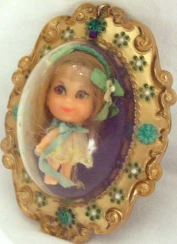 Liddle Kiddle Lucky Locket Lou 1967  (Thanks for the pin - I had forgotten what these little dolls were called!)  I used these Kiddle dolls as Barbie's babies!!!!  lol!!