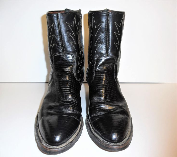 60's Men's Black Western Reptile Embossed Side Zip Ankle Boots ~ Coast Boots Inc. ~ Made In USA ~ US Size 9 1/2 EE by YesterdaysGifts on Etsy