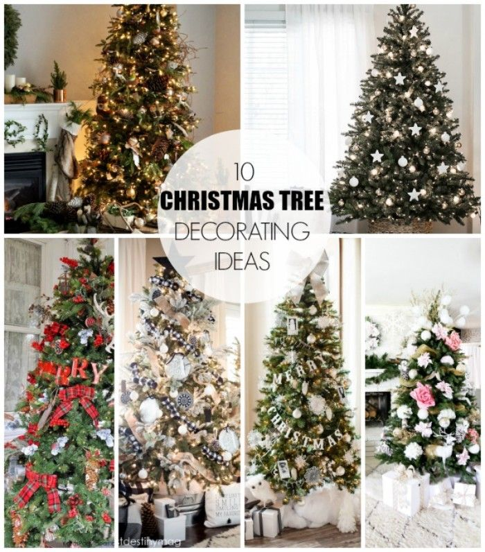 10 Christmas Tree Decorating Ideas. A mix of store bought and DIY- with all different styles!