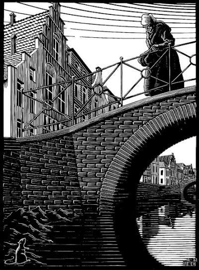 "Skot Foreman Gallery M.C.  Escher ""Scholastica (The Bridge)"" 9 x 6 5/8 in  23 x 17 cm"
