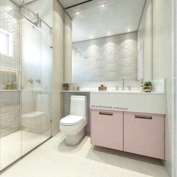 """3,748 curtidas, 91 comentários - • Arquiteta de Interiores (@carolcantelli_interiores) no Instagram: """"Maaiis uma princesa feliz com seu banheiro cor-de-rosa! ☺️♀️ Revestimento liiiiindo com um…"""""""
