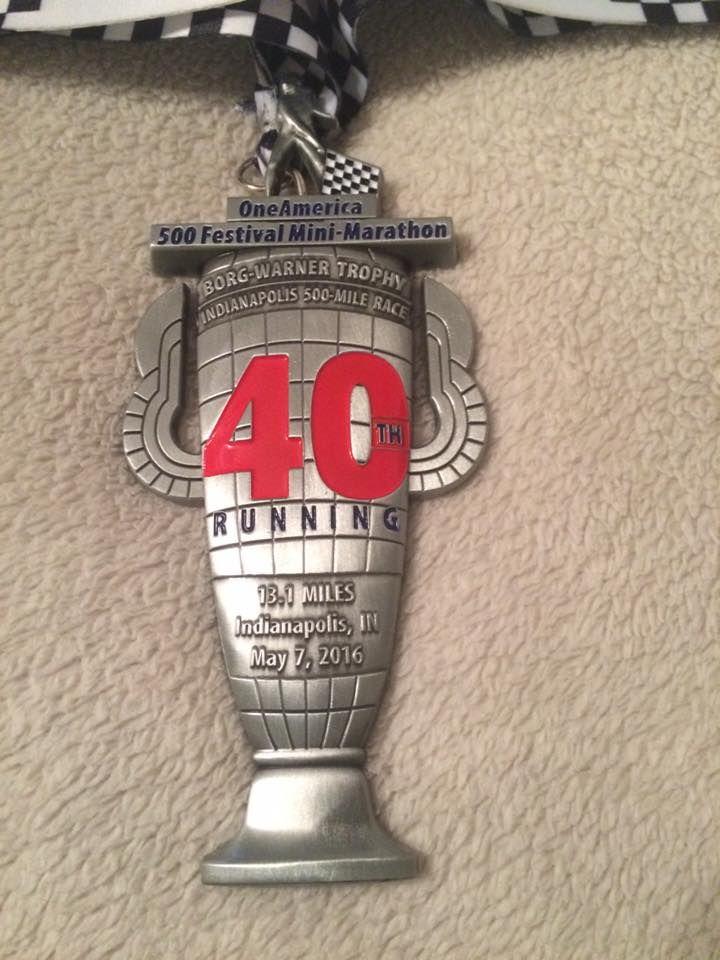 One America 500 Festival Mini Marathon 2016 medal in Indianapolis, Indiana - 2016 bling photos - half marathon medal photos taken by Fifty States Half Marathon Club members www.50stateshalfmarathonclub.com