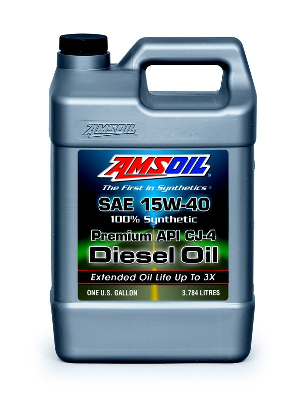 AMSOIL Premium API CJ-4 Synthetic 15W-40 Diesel Oil • Superior Shear Stability & Extended Drain Intervals in Ultra-Low Emission Diesel Engines The premium choice diesel oil for model-year 2007 & newer heavy-duty and pickup truck diesel engines requiring API CJ-4 emission-quality oil standards. Exceeds modern specs for emission-quality diesel oil. Online Order: www.usaoildirect.com or call TOLL FREE: 1-800-777-7094 • Special Code: 20124