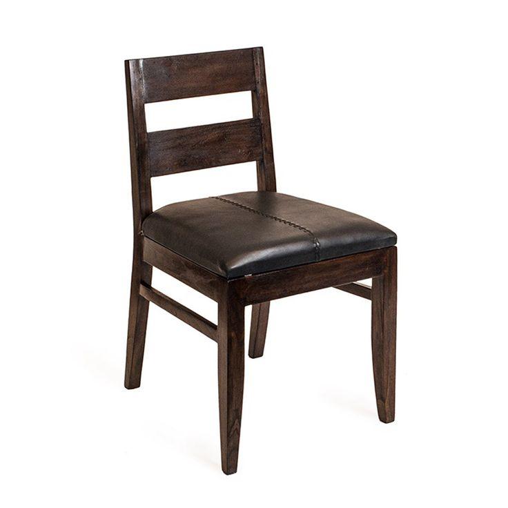 Стул из массива тика. Подходит не только для столовой зоны, но также и для кабинета. Два варианта перетяжки сидения - кожа или плотная ткань.             Метки: Кухонные стулья.              Материал: Дерево, Кожа натуральная.              Бренд: Teak House.              Стили: Лофт.              Цвета: Темно-коричневый.