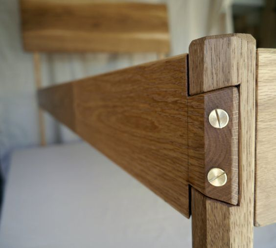 Modern White Oak Bed Frame; Handmade, Solid Wood Bed Frame with Hand Cut Joints: