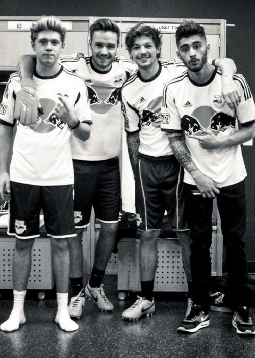 All the boys but Harry playing soccer with the New York red bulls