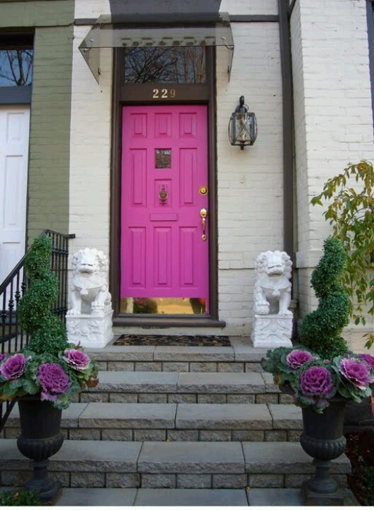 Fab Pink Door   If Only Aaron Would Let Me Have A Pink Door With Foo Dogs.