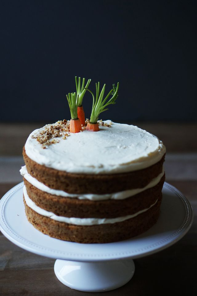 Carrot Cake with Ginger Cream Cheese Frosting - Love the carrots sticking out of the 'proverbial' ground instead flat on top.
