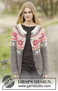 "Petunia Cardigan - DROPS jakke med rundfelling og nordisk mønster, strikket ovenfra og ned i 2 tråder ""Brushed Alpaca Silk"" eller 1 tråd ""Melody"". Str S - XXXL. - Gratis oppskrift by DROPS Design"