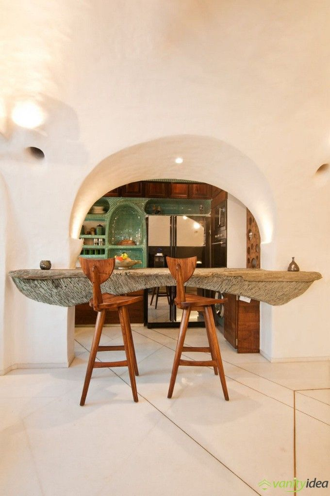 organic chairs and kitchen bar