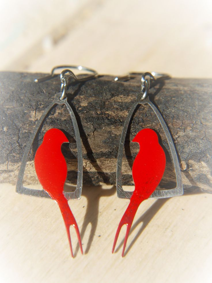 Red Sparrow Earrings, Stainless Steel, Enameled Jewelry, Metal Cage, Sitting Bird, Elegant Design, Red Lipstick Earrings, Spring Charm by CinkyLinky on Etsy