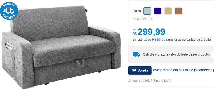 Sofá-Cama Casal 2 Lugares com Revisteiro Lateral << R$ 29999 em 6 vezes >>