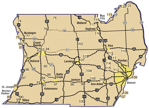 Map Southern Lower Peninsula Nature Trails Parks