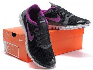 Nike Free 3.0 V2 Dame Sort Lilla Hvid Sko