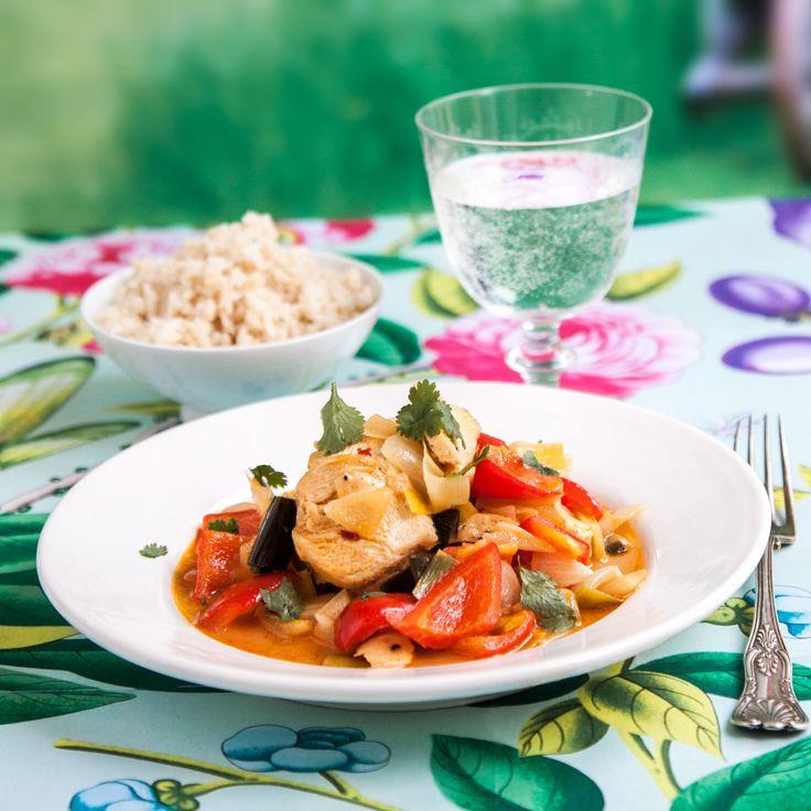 Ulrika Brydlings karibiska hönsgryta, många härliga smaker i en och samma gryta.