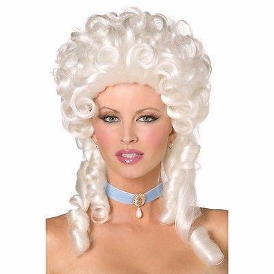 Maria Antonietta Parrucca Bianco Francese Barocco Donna Costume Carnevale 42122