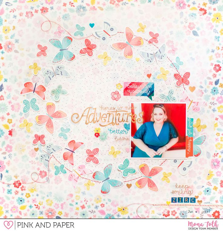12x12 scrapbook layout created with Pink Paislee - Paige Evans Turn The Page collection by Mona Tóth.