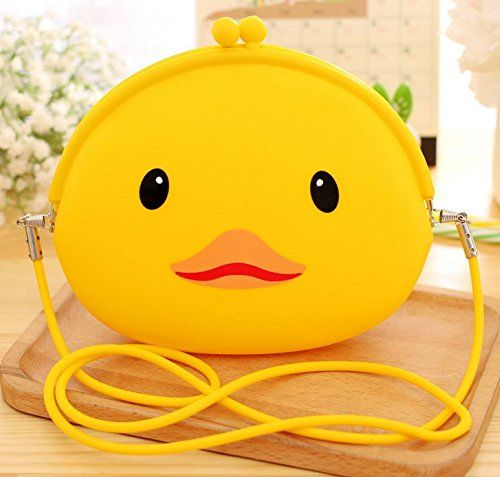 2 Pcs Yellow Duckling Animal Anime Wallet Coin Purse Satchel Bear boys