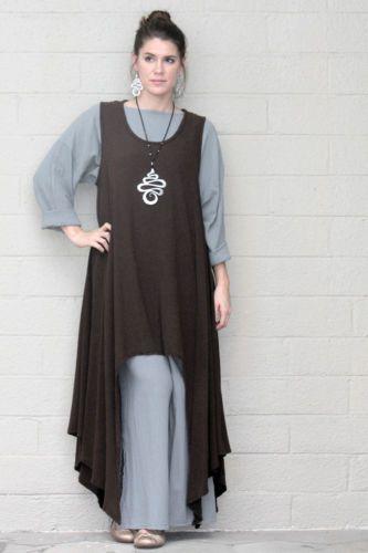 Oh My Gauze Cotton Drip Hem Sidekick Tunic Long Vest 1 M L XL 2 1x 2X Tobacco   eBay