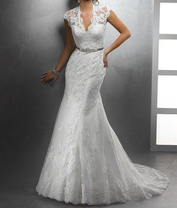 Wedding Dress,Lace Wedding Dress,Court Train Dress, Mermaid Wedding Dress, White Lace Bridal Dress