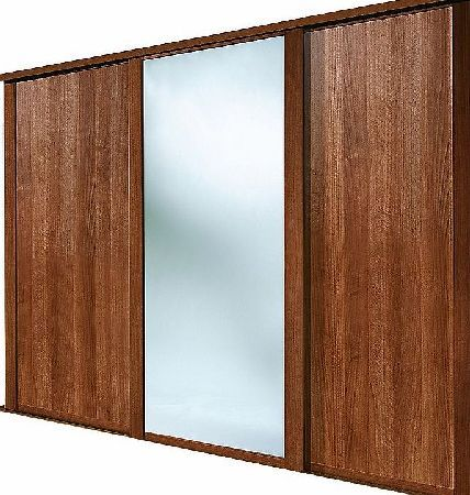Spacepro 3 Door Sliding Wardrobe Doors Walnut / 2 shaker style, walnut panel doors and 1 walnut framed mirror, sliding wardrobe door. Ready assembled to fit onto matching trackset supplied. Features: Easy to Install