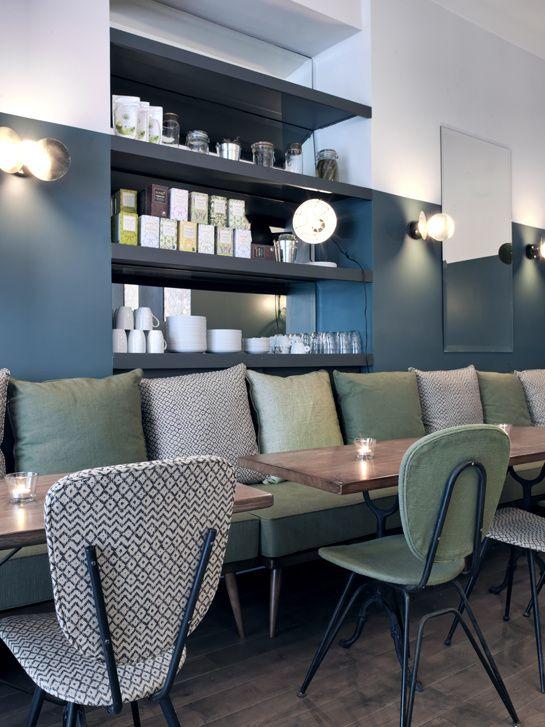 Cafe in Paris - Love the colour scheme - French Vogue.
