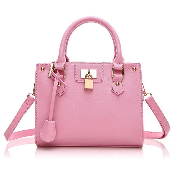 Cassandra Padlock Tote ($29) ❤ liked on Polyvore featuring bags, handbags, tote bags, green, handbags totes, tote handbags, pink tote bag, studded purse and pink handbags