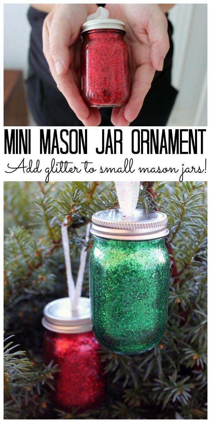 Diy Glitter Mini Mason Jar Ornament Make Your Own For Your Christmas Tree Mini Mason Jars Mason Jar Crafts Diy Christmas Jars