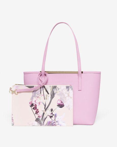 96f7924d9 Crosshatch leather shopper bag - Pale Purple