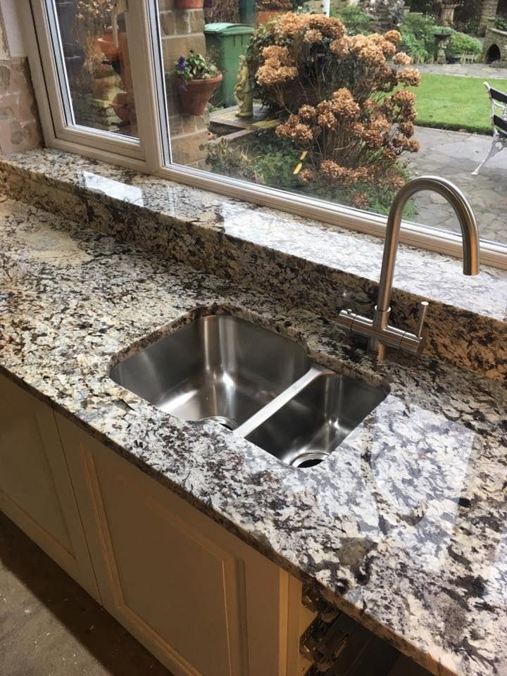 Lennon Gold Granite Worktop With Undermount Sink Upstands
