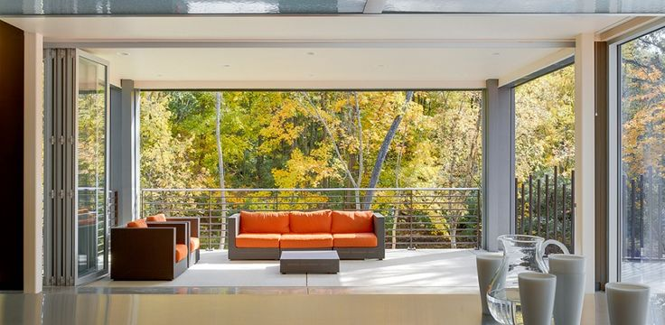 Gallery | Residential Folding, Swing & Multi-Slide Doors | LaCantina Doors, 16ft 6 7/8in by 10ft Aluminum Thermally Controlled 5-panels clear anodized color with Stainless handle