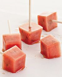 These popsicles are a great fat-free snack, made with lots of naturally sweet watermelon and only a little sugar. They can be frozen in special popsicle molds or in standard ice cube trays (three cubes equals one serving). Joy Manning has them whenever she feels the temptation to visit the new gelato shop around the corner from her apartment.