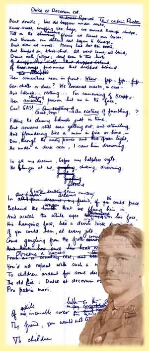 compare two poems by wilfed owen Compare & contrast: wilfred owen's poem dulce et decrum est and tim o'brien's the things they carried by admin on june 19, 2016 in classics, literature with comments off on compare & contrast: wilfred owen's poem dulce et decrum est and tim o'brien's the things they carried.