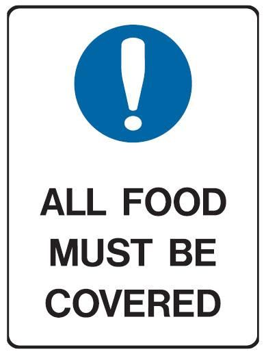 Food Safety Signs And Posters | Kitchen & Food Safety Signs - All Food Must Be Kept Covered - Safety ...