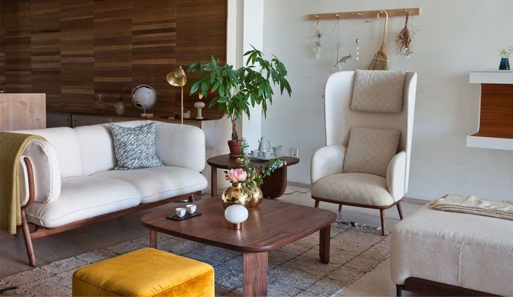 Luca Nichetto's Stanley sofa, Blanche Bergère armchair, Kim coffee table and Steve pouf.