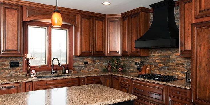 Cherry Cabinets And Stone Backsplash Kitchen Pinterest