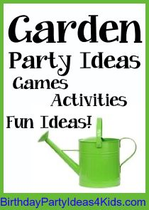 Garden party ideas!  Fun kids birthday party theme - Garden themed ideas for party games, activities, party food, favors, decorations and more! Over 200 party themes at birthdaypartyideas4kids.com Let's get the party started!