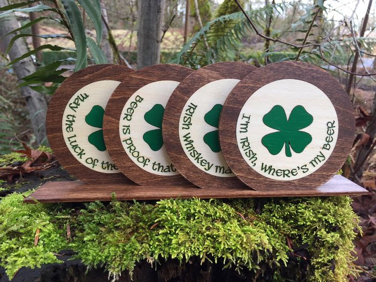 Happy St. Patrick's Day - these beautifully inlaid and etched wood drink coasters each have a great Irish quip!  4 Leaf Clovers for luck!  Fun gift engagingly displayed!