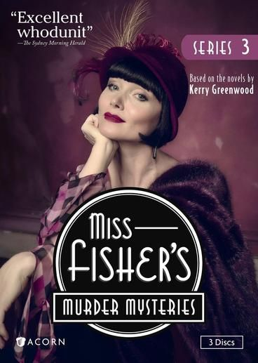 Miss Fisher's Murder Mysteries, Series 3  Take one gutsy, racy lady detective, put her in the glamorous Jazz Age, add a string of carefully-plotted mysteries, and you begin to understand why Miss Fisher's Murder Mysteries has become a favourite world-wide. Closely based on Kerry Greenwood's beloved novels, the show has an enormously entertaining heroine, who is strong, independent and liberated. The series is a visual feast, with acclaimed set and costume designs recreating the 1920s…