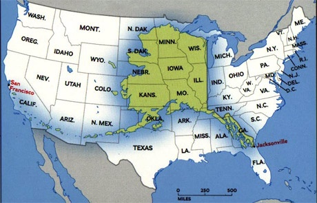 Alaska superimposed on the continental u s misc for Interesting facts of usa