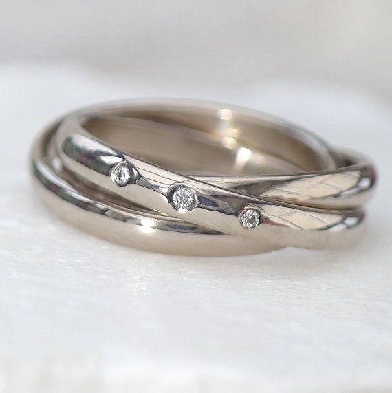 18k Gold Russian Wedding Ring with Diamonds  by LiliaNashJewellery