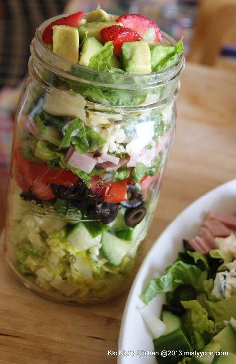 Salads in jars.  Great salad ideas!