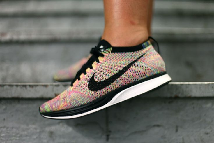 Nike Flyknit Racer Multicolor. Just got these babies and Jada is mad her feet are bigger than mine lol
