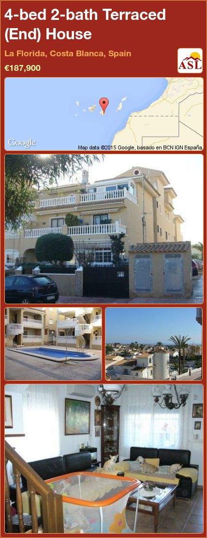 4-bed 2-bath Terraced (End) House in La Florida, Costa Blanca, Spain ►€187,900 #PropertyForSaleInSpain