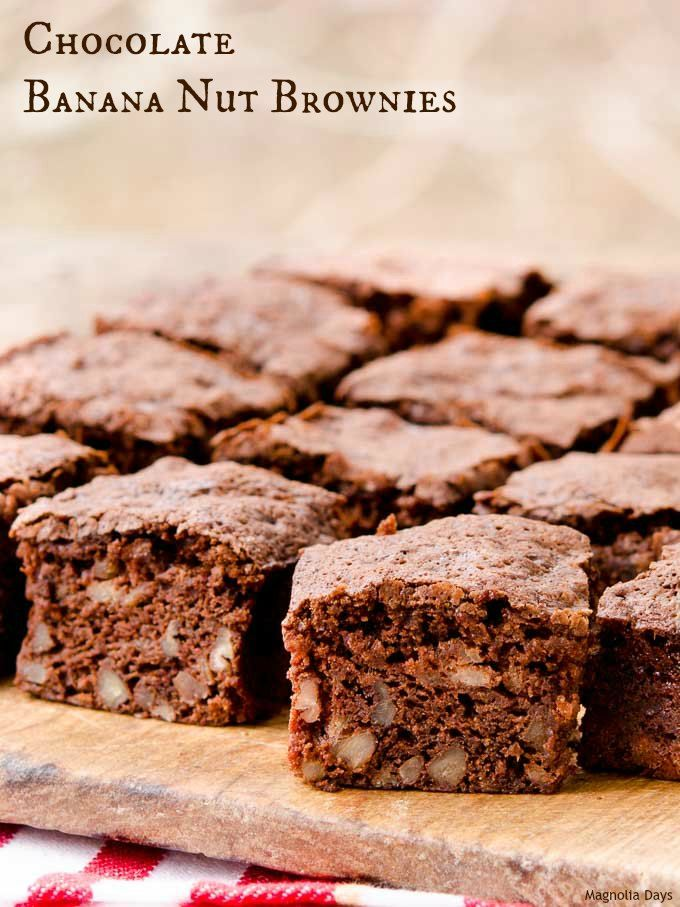 Chocolate Banana Nut Brownies are delightfully moist, crumbly, rich, and nutty. Bake them to enjoy for a snack or lunch box treat.