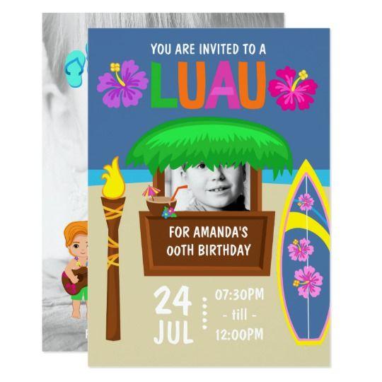 Kids Hawaiian Luau Party add photo Invitation