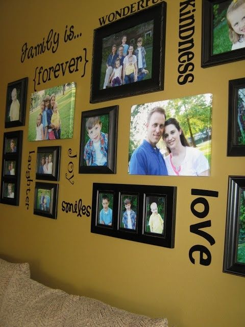 "Family picture wall - mix of frame and canvas by lupe. Include, ""It all started with a dance."" and a shelf w/our trophy."