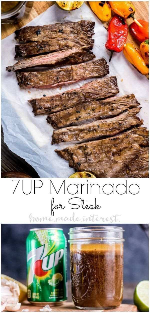 7UP Marinade is an easy way to add flavor to your skirt steak. If you're looking for an easy steak marinade try marinating your steak in 7UP Marinade and then toss it on the grill for perfectly tender grill skirt steak every time! This is a great grilled steak recipe for summer grilling. AD #steak #grill #grilling #marinade #dinner #grillingrecipes