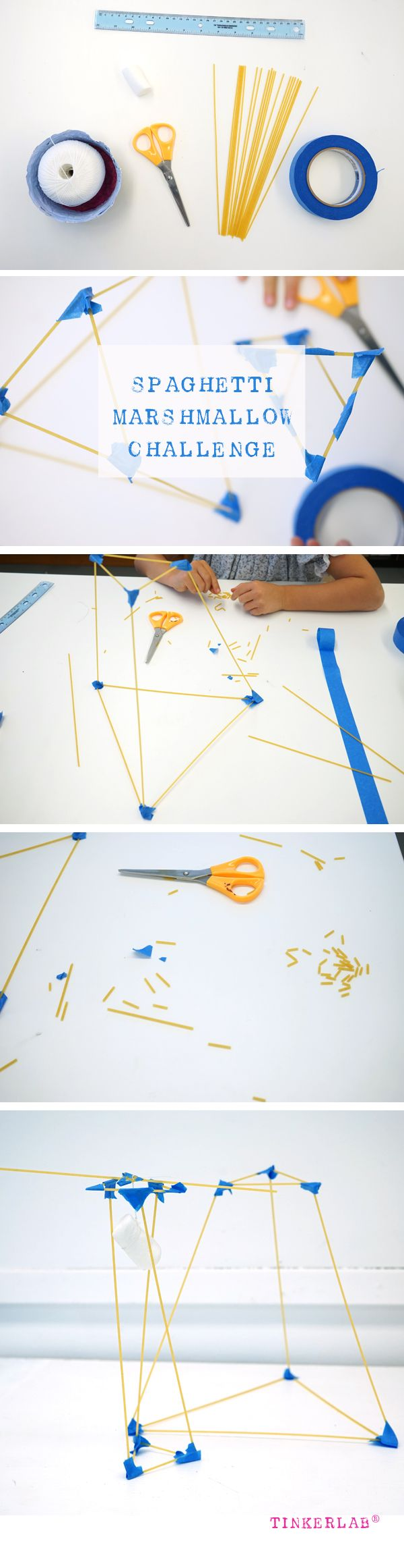 """Spaghetti Marshmallow STEM Challenge to """"build the tallest structure possible to support the marshmallows...in 18 minutes."""""""